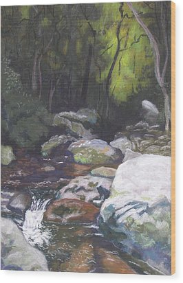 Wood Print featuring the pastel Mountain Stream At Dusk by Robert Decker