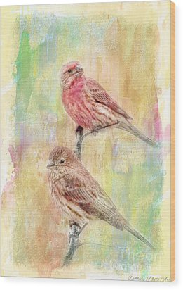 Mr And Mrs House Finch - Digital Paint Wood Print by Debbie Portwood