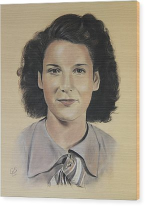 Wood Print featuring the painting Mrs Crye by Glenn Beasley
