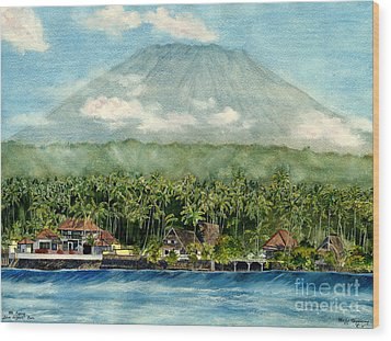 Wood Print featuring the painting Mt. Agung Bali Indonesia by Melly Terpening