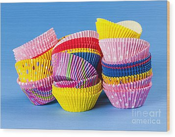 Muffin Cups Wood Print by Elena Elisseeva