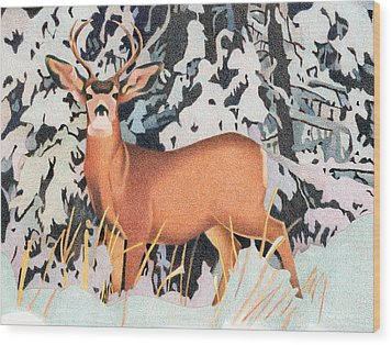 Mule Deer Wood Print by Dan Miller