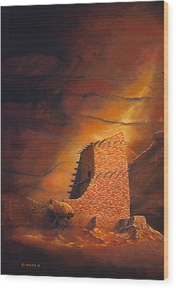 Mummy Cave Ruins Wood Print by Jerry McElroy
