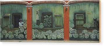 Mural On A Wall, Cancun, Yucatan, Mexico Wood Print by Panoramic Images