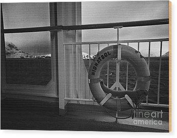 Mv Midnatsol Lifebelt On Board Hurtigruten Passenger Ship Sailing Through Fjords During Winter Wood Print by Joe Fox