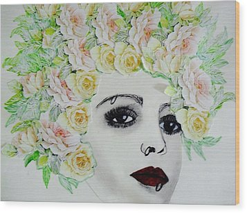 My Flowered Hat Wood Print by Suzanne Thomas