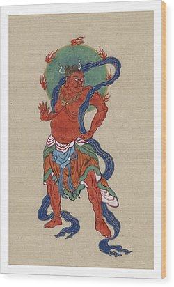 Mythological Buddhist Or Hindu Figure Circa 1878 Wood Print by Aged Pixel