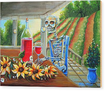 Napa Wine Skeleton Wood Print