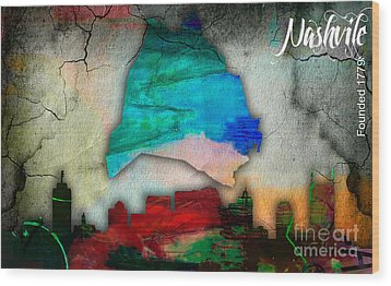 Nashville Skyline And Map Watercolor Wood Print by Marvin Blaine