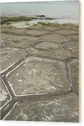 Natural Forming Pentagon Rock Formations Of Kumejima Okinawa Japan Wood Print
