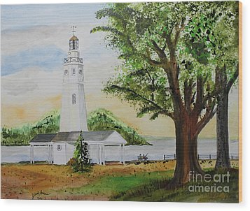 Neenah Light House Wood Print by Jack G  Brauer