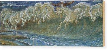 Neptune's Horses Wood Print by Walter Crane