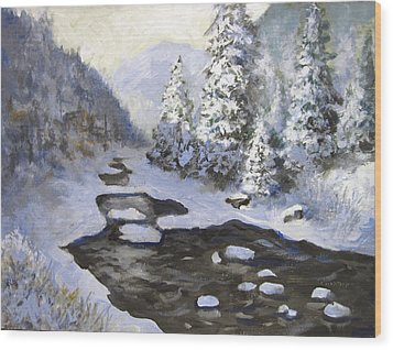 Wood Print featuring the painting New Snow by Carol Hart