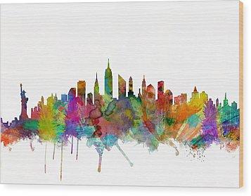 New York City Skyline Wood Print by Michael Tompsett