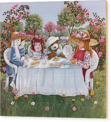 Nicole's Magic Tea Party Wood Print by Ann Peck