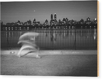 Night Jogger Central Park Wood Print by Dave Beckerman