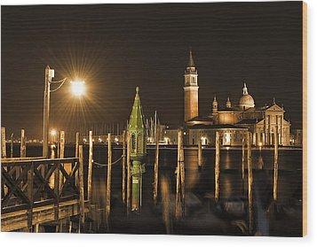 Night Lights Wood Print by Marion Galt