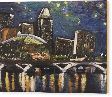 Night On The River Wood Print