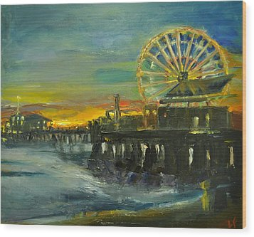 Nighttime Pier Wood Print by  Lindsay Frost
