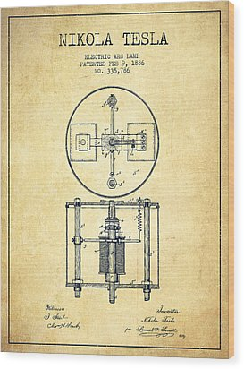 Nikola Tesla Patent Drawing From 1886 - Vintage Wood Print by Aged Pixel