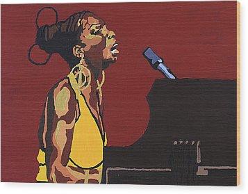Wood Print featuring the painting Nina Simone by Rachel Natalie Rawlins