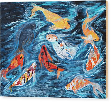 Good  Luck Painting. Nine Koi Fish. Inspirations Collection. Wood Print by Oksana Semenchenko
