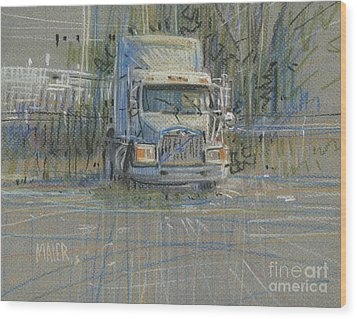 Wood Print featuring the painting No Trailer by Donald Maier