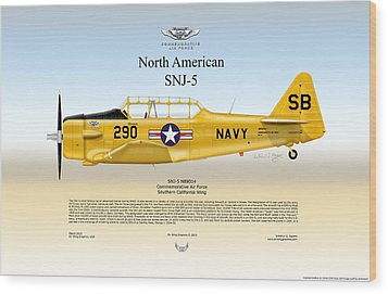 North American Snj-5 Wood Print by Arthur Eggers