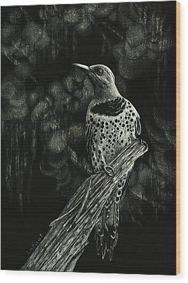 Wood Print featuring the drawing Northern Flicker by Sandra LaFaut