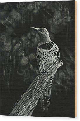 Northern Flicker Wood Print by Sandra LaFaut