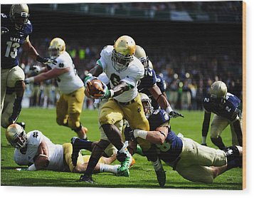 Notre Dame Versus Navy Wood Print by Mountain Dreams