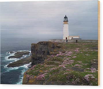 Noup Head Lighthouse Wood Print by Steve Watson