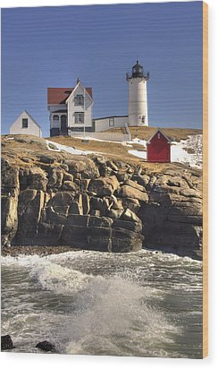 Nubble Lighthouse 3 Wood Print by Joann Vitali