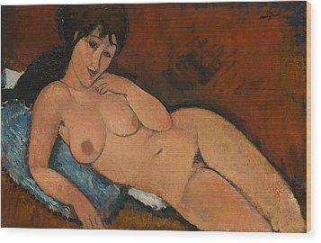 Nude On A Blue Cushion Wood Print by Amedeo Modigliani