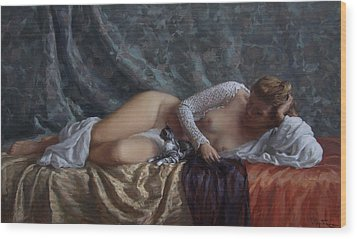 Nude With A Kitten Wood Print by Korobkin Anatoly