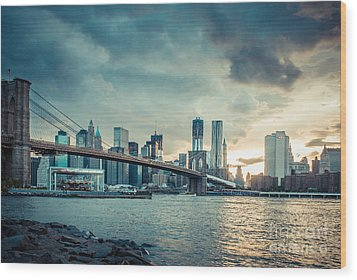 Nyc Skyline In The Sunset V1 Wood Print by Hannes Cmarits