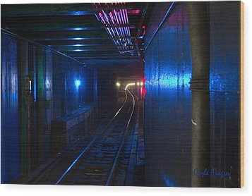 Nyc Underground Colors Wood Print by Coqle Aragrev
