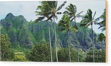 Oahu Mountains Wood Print by Brigitte Emme