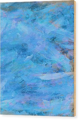 Ocean Blue Abstract Wood Print by Frank Tschakert