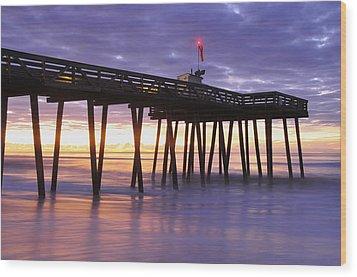 Ocean City Sunrise Wood Print by Dan Myers