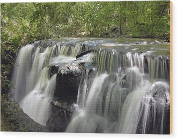 Odom Creek Waterfall Georgia Wood Print by Charles Beeler