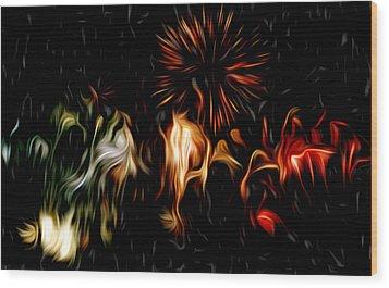 Oil Fireworks Wood Print by Stefan Petrovici
