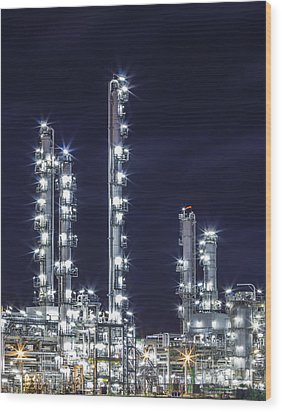 Oil Refinery Industry Wood Print
