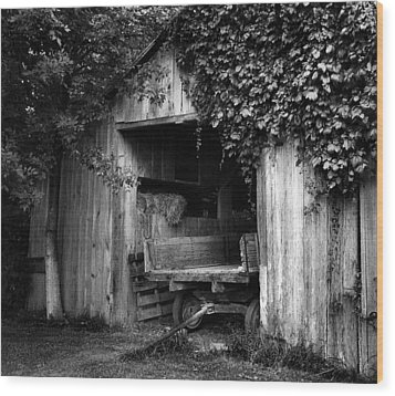 Old Barn And Wagon Wood Print by Julie Dant