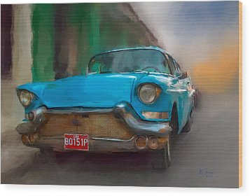 Wood Print featuring the photograph Old Blue Car by Juan Carlos Ferro Duque