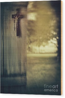 Old Cross Of Window Shutter Door Wood Print by Sandra Cunningham
