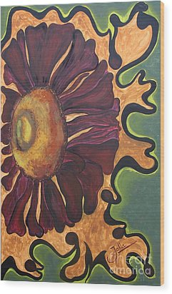 Old Fashion Flower Wood Print