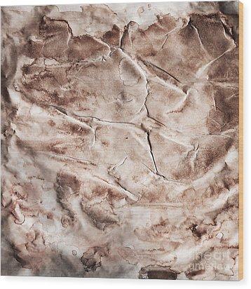 Old Grunge Creased Paper Texture. Retro Vintage Background Wood Print by Michal Bednarek