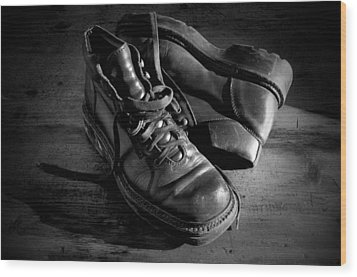 Old Leather Shoes Wood Print