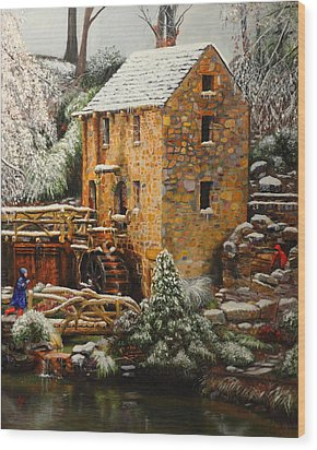 Old Mill In Winter Wood Print